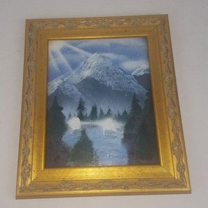 Spray Painted Mountain Scene Gold Framed Picture